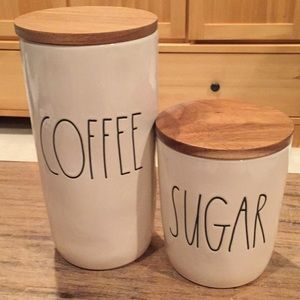 """Rae Dunn """"Coffee"""" and """"Sugar"""" canisters"""